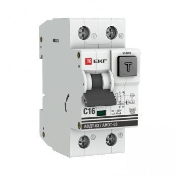 Дифференциальный автомат АВДТ-63 16А/ 30мА (характеристика C, эл-ех тип A) 6кА EKF PROxima