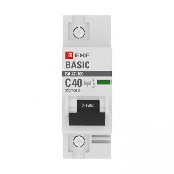 Автоматический выключатель 1P  40А (C) 10kA ВА 47-100 EKF Basic