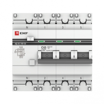 Дифференциальный автомат АД-32 3P+N 63А/300мА (хар. C, AC, электронный, защита 270В) 4,5кА EKF PROxima