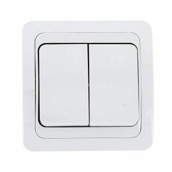 Лондон Выключатель 2-клавишный 10А белый EKF PROxima