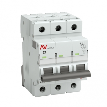 Выключатель автоматический AV-10 3P  4A (C) 10kA EKF AVERES