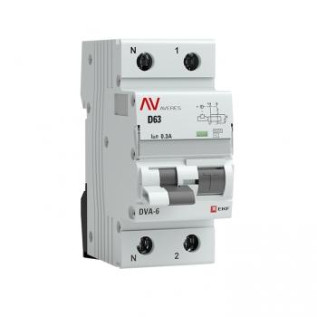 Дифференциальный автомат DVA-6 1P+N 63А (D) 300мА (AC) 6кА EKF AVERES
