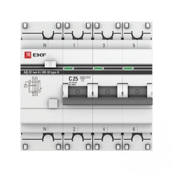 Дифференциальный автомат АД-32 3P+N 25А/30мА (тип А) EKF PROxima