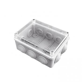 Коробка распаячная КМР-050-042пк пылевлагозащищенная, 10 мембранных вводов, уплотнительный шнур, прозрачная крышка (190х140х70) EKF PROxima