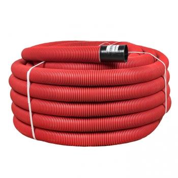 Труба гофрированная двустенная гибкая ПНД d 110 с зондом (50 м) красная, EKF PROxima