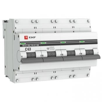 Автоматический выключатель 4P  63А (C) 10kA ВА 47-100 EKF PROxima