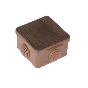Коробка распаячная КМР-030-036  пылевлагозащитная, 4 мембранных ввода (73х73х49) тёмное дерево EKF PROxima