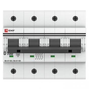 Автоматический выключатель 4P 100А (D) 15кА ВА 47-125 EKF PROxima