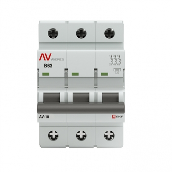 Выключатель автоматический AV-6 3P 63A (B) 6kA EKF AVERES