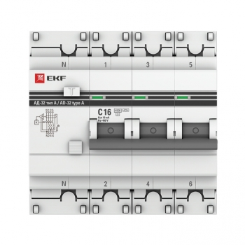 Дифференциальный автомат АД-32 3P+N 16А/10мА (тип А) EKF PROxima