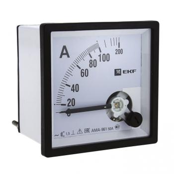 Амперметр AMA-961 аналоговый на панель (96х96) квадратный вырез  200А трансф. подкл. EKF