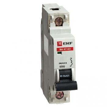 Автоматический выключатель ВА 47-63 6кА, 1P 50А (B) EKF