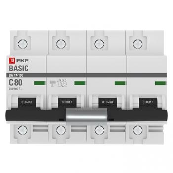 Автоматический выключатель 4P  80А (C) 10kA ВА 47-100 EKF Basic