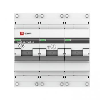 Автоматический выключатель 3P  35А (C) 10kA ВА 47-100 EKF PROxima