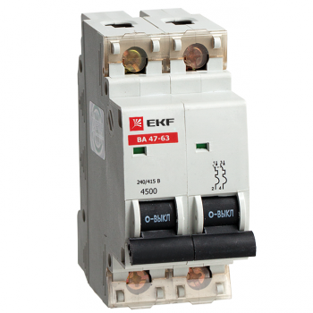 Автоматический выключатель ВА 47-63, 2P 10А (C) 4,5kA EKF