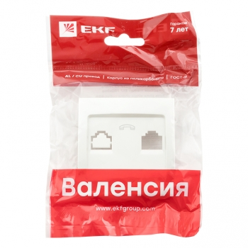 Валенсия лицевая панель розетки Phone 1-местная жемчуг EKF PROxima