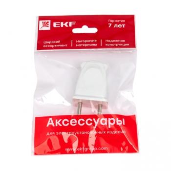 Вилка плоская без заземления белая 10А 250 В EKF Proxima