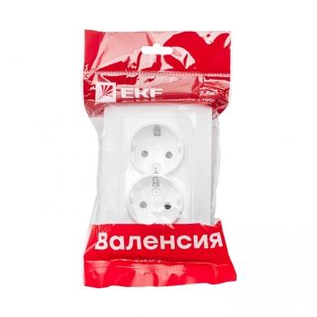 Валенсия розетка 2-местная с/з 16А белая с защ. штор. EKF PROxima