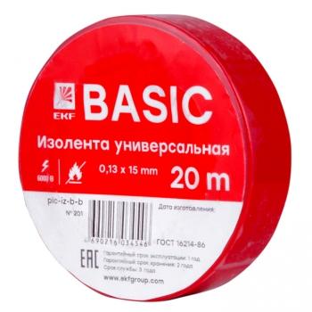 Изолента класс В (0,13х15мм) (20м.) красная EKF Basic