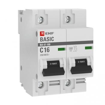 Автоматический выключатель 2P  16А (C) 10kA ВА 47-100 EKF Basic