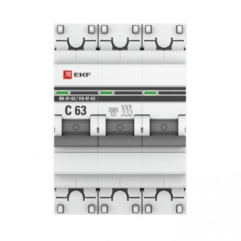 Автоматический выключатель 3P 10А (B) 6кА ВА 47-63 EKF PROxima