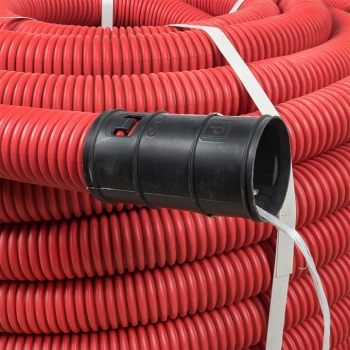 Труба гофрированная двустенная ПНД гибкая с протяжкой d50 мм (50 м) красная EKF