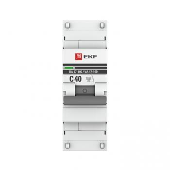 Автоматический выключатель 1P  40А (C) 10kA ВА 47-100 EKF PROxima