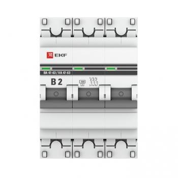 Автоматический выключатель 3P 2А (B) 4,5кА ВА 47-63 EKF PROxima