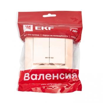 Валенсия выключатель 2-кл. 10А кремовый с индикатором EKF PROxima