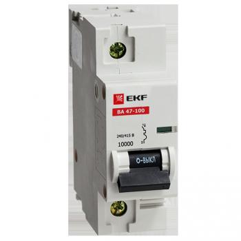 Автоматический выключатель ВА 47-100, 1P 10А (D) 10kA EKF
