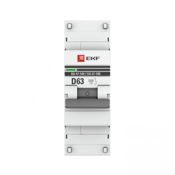 Автоматический выключатель 1P  63А (D) 10kA ВА 47-100 EKF PROxima