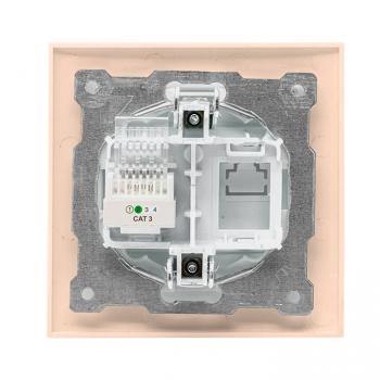 Валенсия розетка телефонная RG-11 1-местная кремовая EKF PROxima