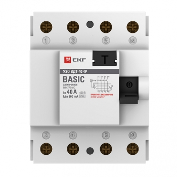 Устройство защитного отключения УЗО ВДТ-40 4P 40А/300мА (электронное) EKF Basic