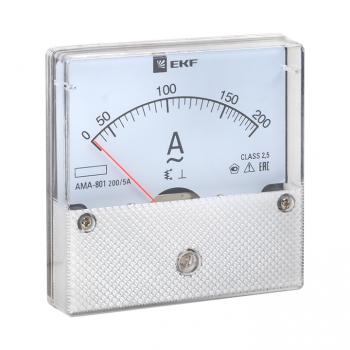Амперметр AMA-801 аналоговый на панель (80х80) круглый вырез 200А трансф. подкл. EKF