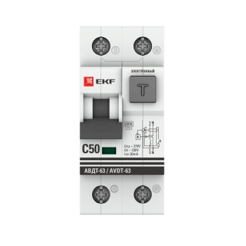 Дифференциальный автомат АВДТ-63 50А/ 30мА (хар-ка C, электронный тип АС) 6кА EKF PROxima