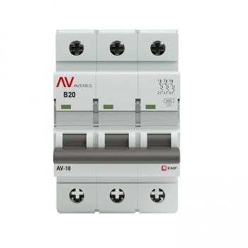 Выключатель автоматический AV-10 3P 20A (B) 10kA EKF AVERES