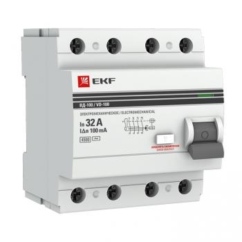 Устройство защитного отключения УЗО ВД-100 4P 32А/100мА (электромеханическое) EKF PROxima