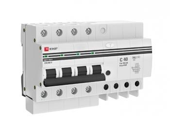 Дифференциальный автомат АД-4 40А/100мА (хар. C, AC, электронный, защита 270В) 6кА EKF PROxima