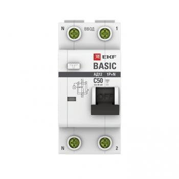 Дифференциальный автомат 1P+N 50А 30мА тип АС х-ка C эл. 4,5кА АД-12 EKF Basic