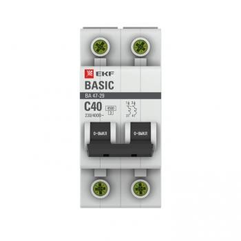 Автоматический выключатель 2P 40А (C) 4,5кА ВА 47-29 EKF Basic