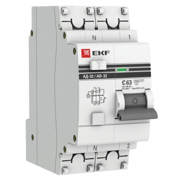 Дифференциальный автомат АД-32 1P+N 63А/100мА (хар. C, AC, электронный, защита 270В) 4,5кА EKF PROxima