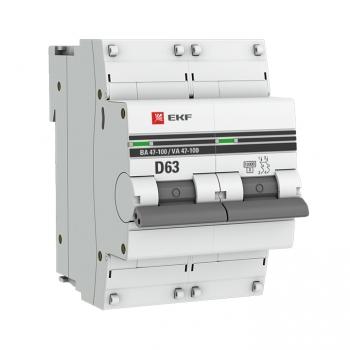 Автоматический выключатель 2P  63А (D) 10kA ВА 47-100 EKF PROxima