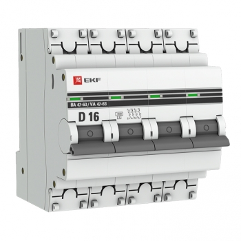 Автоматический выключатель 4P 16А (D) 4,5kA ВА 47-63 EKF PROxima