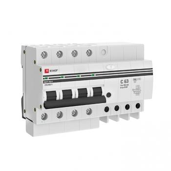 Дифференциальный автомат АД-4 63А/300мА (хар. C, AC, электронный, защита 270В) 6кА EKF PROxima