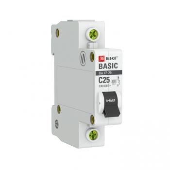 Автоматический выключатель 1P 25А (C) 4,5кА ВА 47-29 EKF Basic