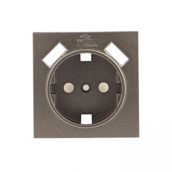 Валенсия лицевая панель розетки 1-местной с/з 16А графит с защ. штор. с 2 USB 2,1А EKF PROxima