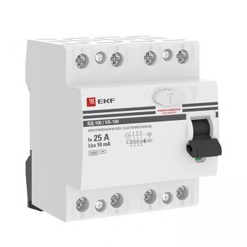 Устройство защитного отключения УЗО ВД-100 4P 25А/ 10мА (электромеханическое) EKF PROxima
