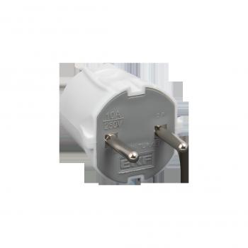 Вилка прямая без заземления белая 10А 250 В EKF Proxima
