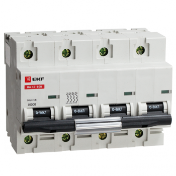 Автоматический выключатель ВА 47-100, 4P 10А (C) 10kA EKF