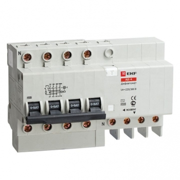 Дифференциальный автомат АД-4 63А/100мА (характеристика C, тип AC) 4,5кА EKF